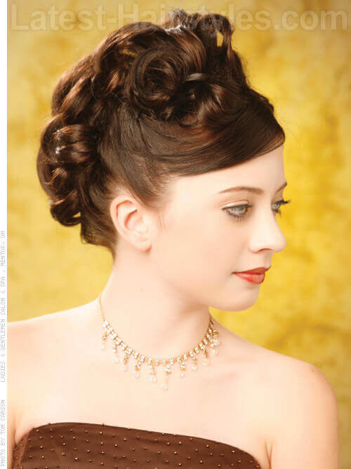 Goddess Curls Elegant Wedding Updo Side View