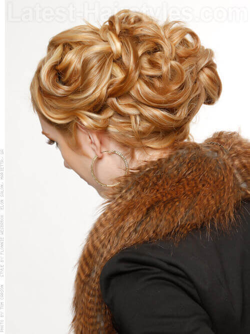 Interwoven Mane Blonde Updo Back View