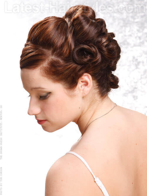 Ribbons In Her Hair Coiled Updo for a Wedding Side View