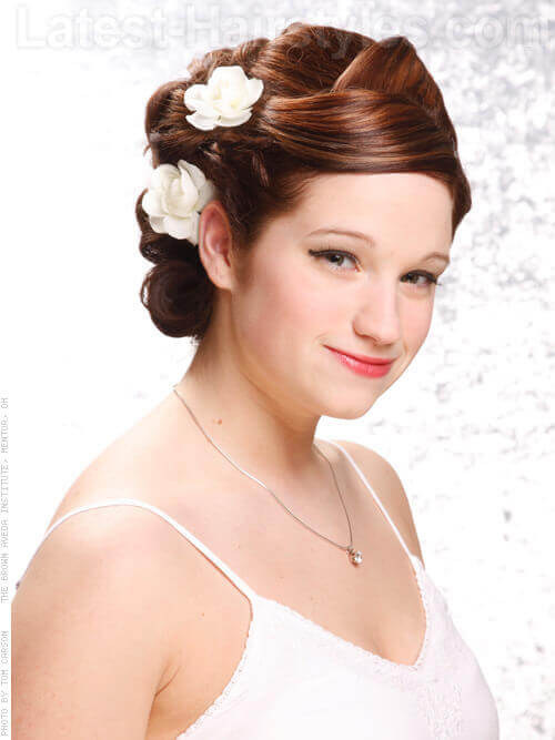 Ribbons In Her Hair Coiled Updo for a Wedding