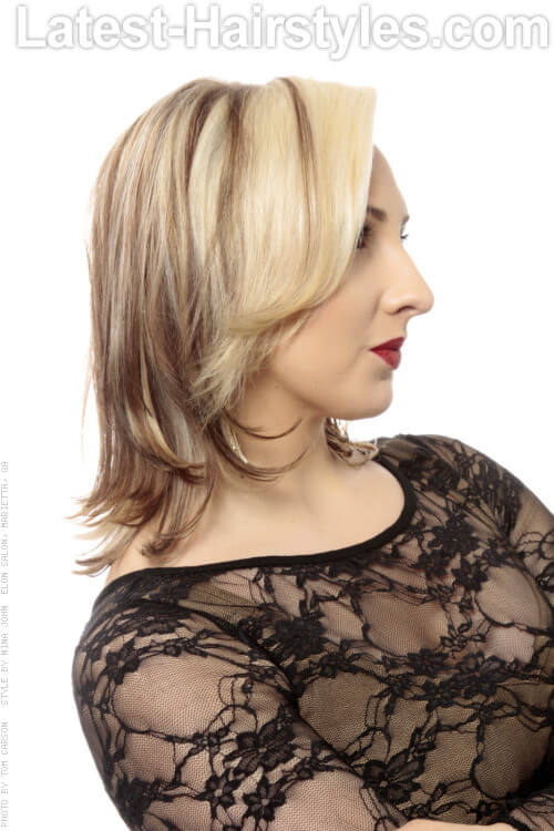 Blonde Hair with Medium Ash Lowlights Side View