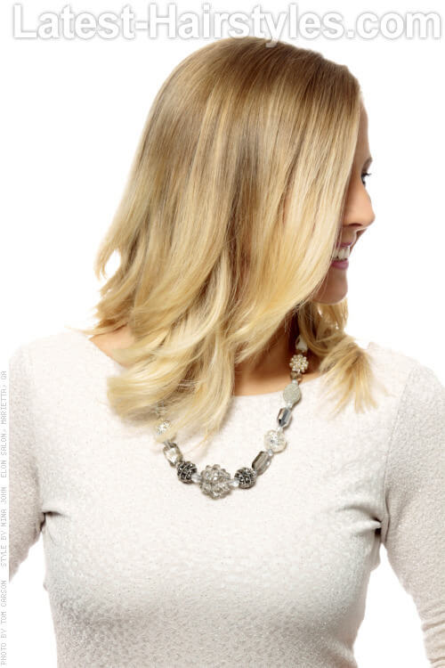 Blonde Ombre Haircolor with Gold Hue Side View