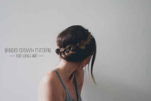 Braided Crown for Long Hair Summer Updo