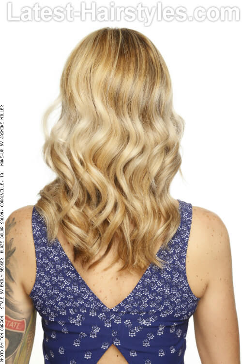 Bright Blonde Highlights on Wavy Light Brown Hair Back