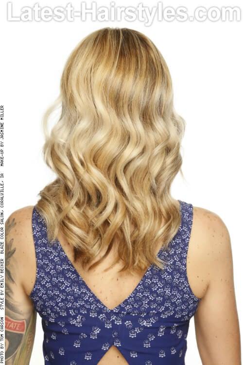 Bright Blonde Highlights on Wavy Light Brown Hair Back