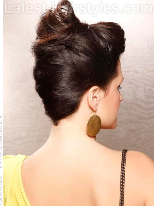 Brunette Retro Updo Back View