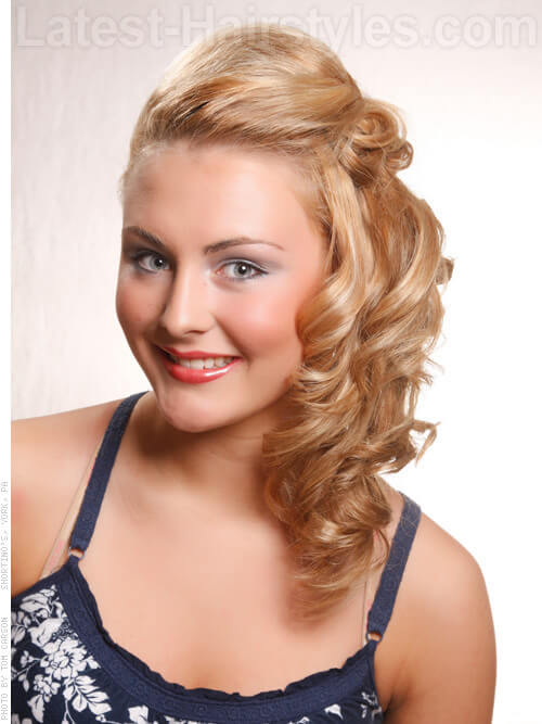 Curly Formal Side Swept Hairstyle