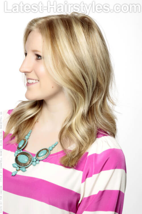 Deep Golden Blonde Lowlights for Fine Hair Side View
