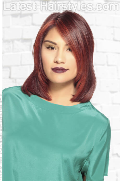 Deep Red Highlights on Dark Hair Front View