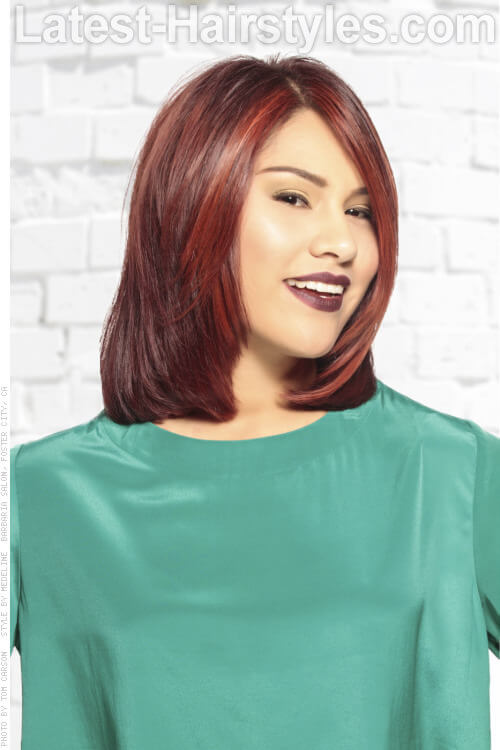 Deep Red Highlights on Dark Hair