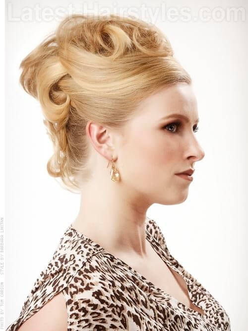 French Twist Retro Updo with Volume Side View