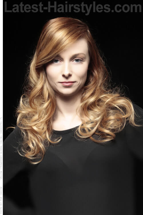 Golden Blonde Hair Color with Copper Lowlights