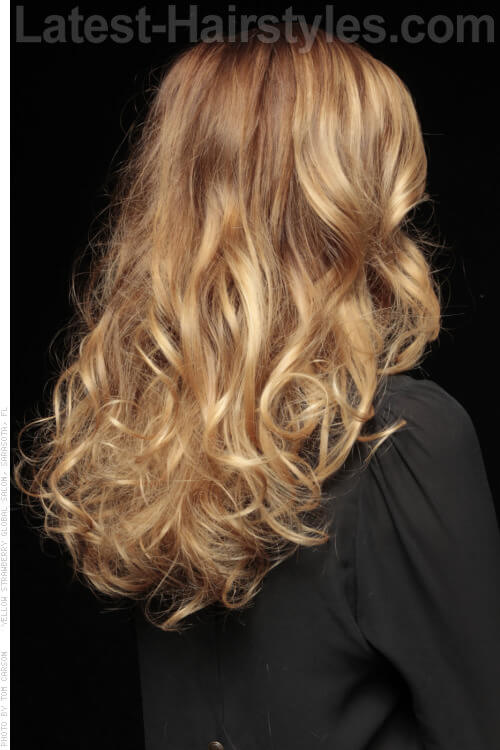 Golden Blonde Hair Color with Copper Lowlights Back View