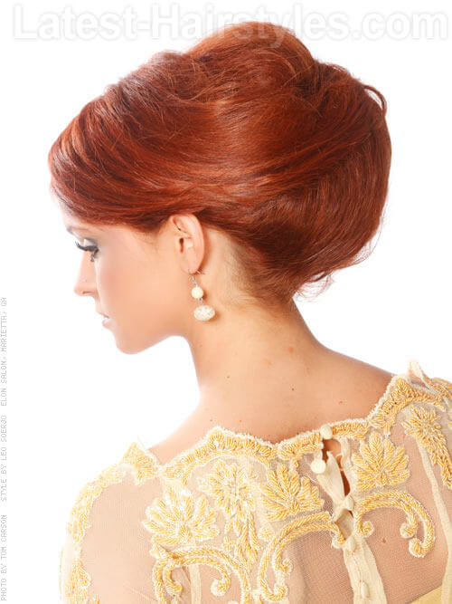 Gorgeous Formal Retro Hairstyle with Side Part Back View