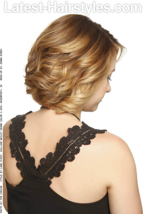 Hairstyle with Golden Blonde Highlights and Darker Lowlights Back
