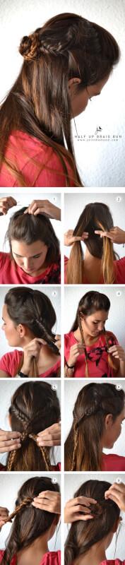 Half up Half Down Straight Hair Braid Half up Half Down Braid Bun