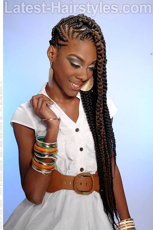Long Cornrow Hairstyle with a Hint of Color