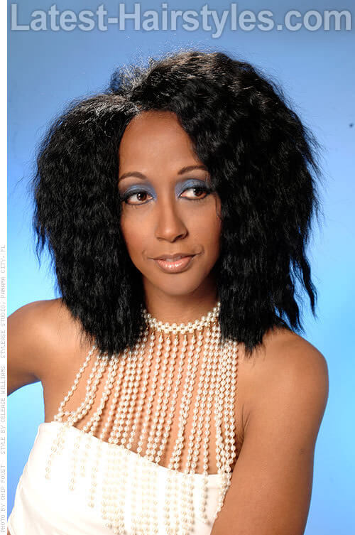 Medium Wavy African American Hairstyle with Volume