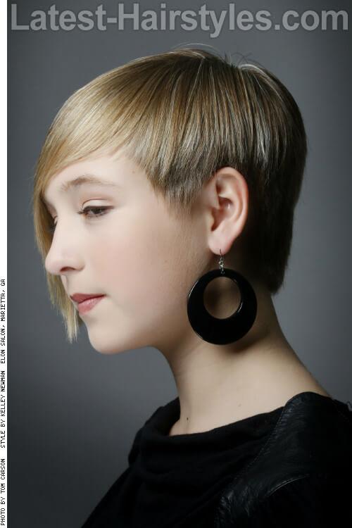 Natural Blonde Highlights on Asymmetrical Haircut Sidev