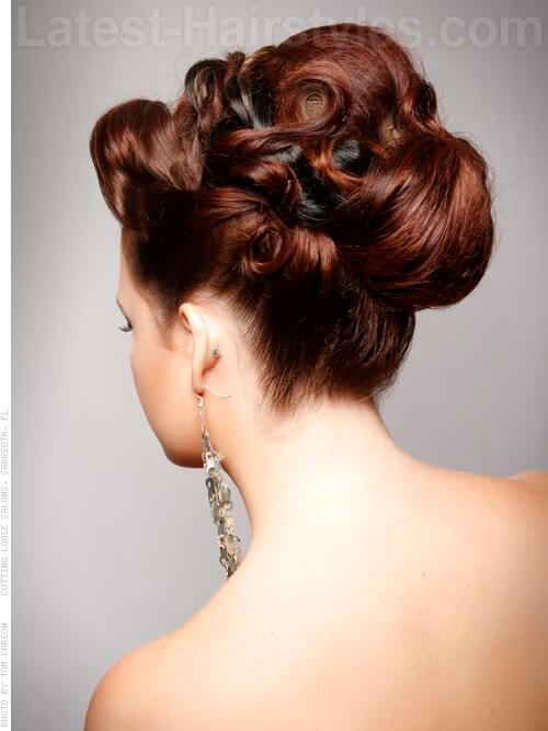 Radient Updo with Swirls Back View