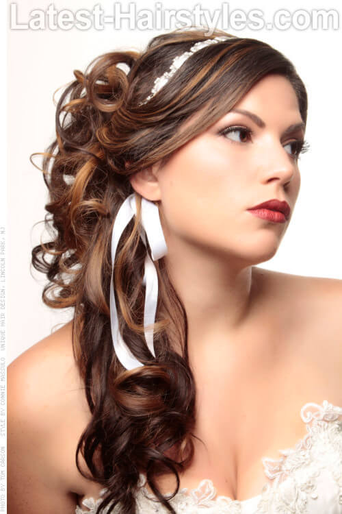 Romantic Half Up Curly Hairstyle with Ribbon
