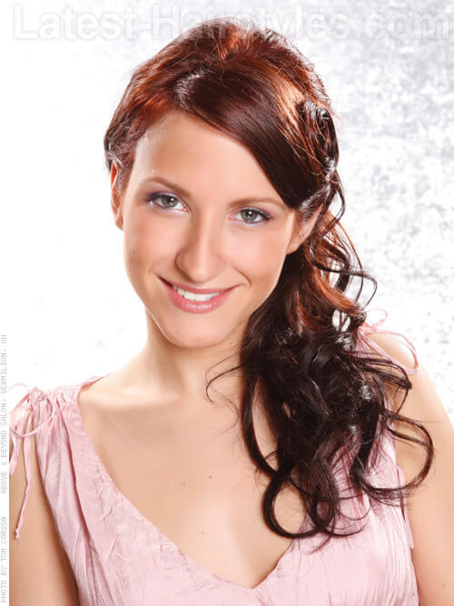 Romantic Side Swept Curls Hairstyle
