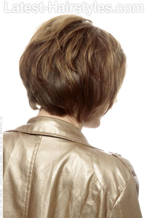 Short Shag Hairstyle with Dimension and Highlights Back View
