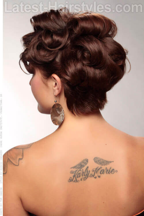 Short Retro Bob Hairstyle with Curls Back View
