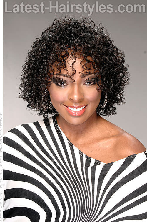 Short Black Natural Hairstyle with Heatless Curls
