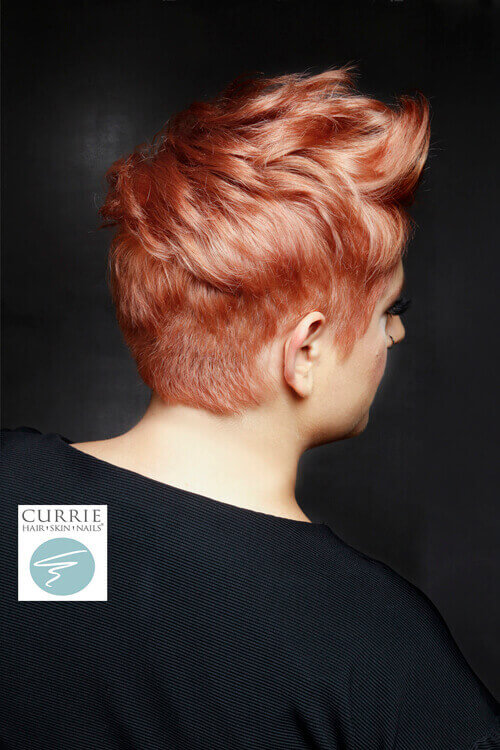 Short Hairstyle with Soft Coral Hue Back