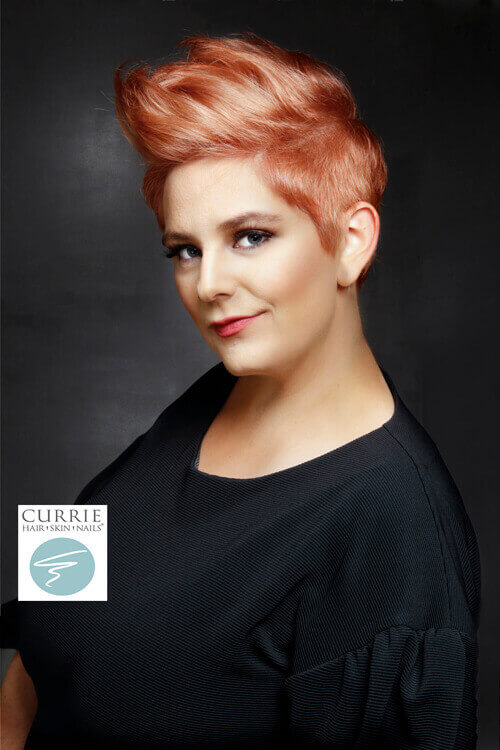 Short Hairstyle with Soft Coral Hue