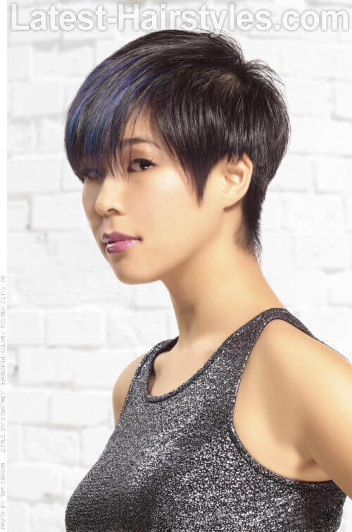 Short Shag Hairstyle with Metallic Blue Hues Side View