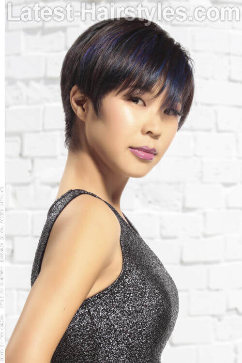 Short Shag Hairstyle with Metallic Blue Hues