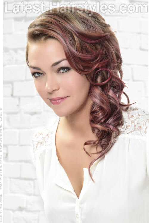 Side Swept Curly Hairstyle with Hair Chalk