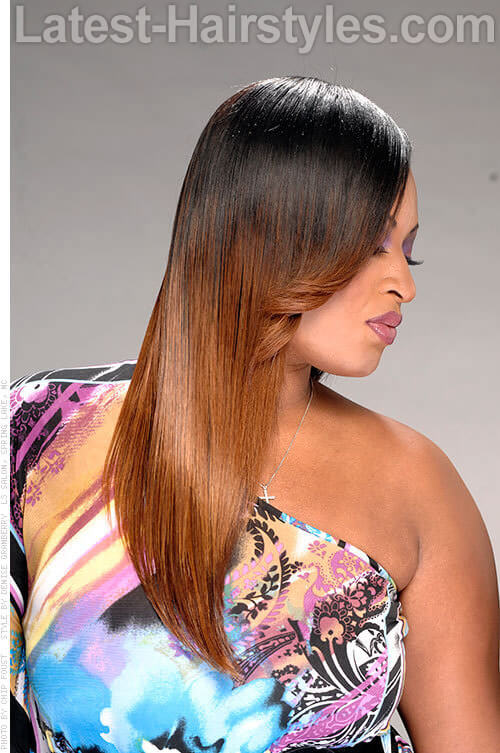 Straight Brown Ombre African American Hairstyle