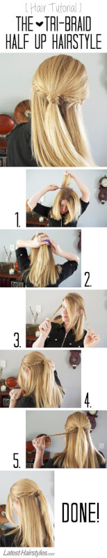 The Tri-Braid Half Up Hairstyle Tutorial