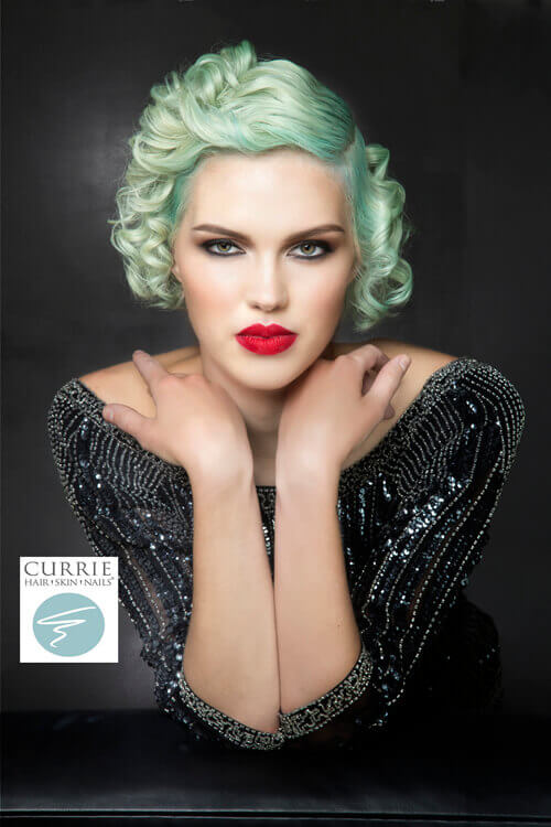 Vintage Short Hairstyle with Minty Pastel Hue