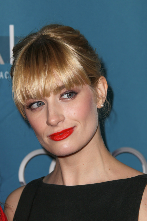 Beth Behrs Low Bun with Full Fringe