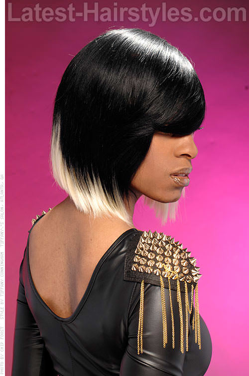 Bob Hairstyle with Colored Ends Side View