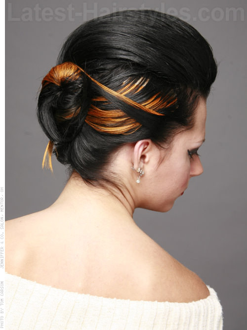 Bouffant Bun with Highlights Back View