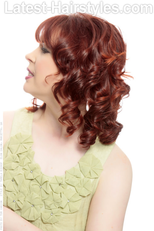 Curled Hairstyle with Piecey Bangs Side View