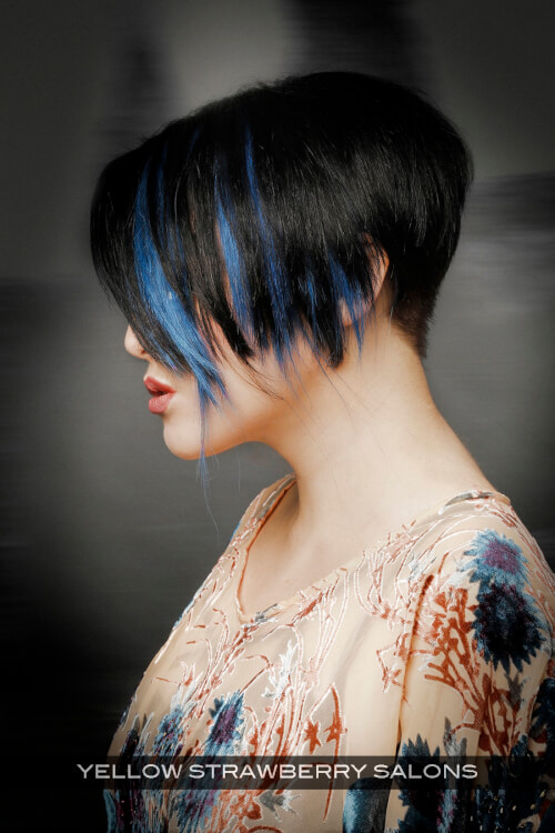 Dark Haircolor with Bright Blue Highlights Side