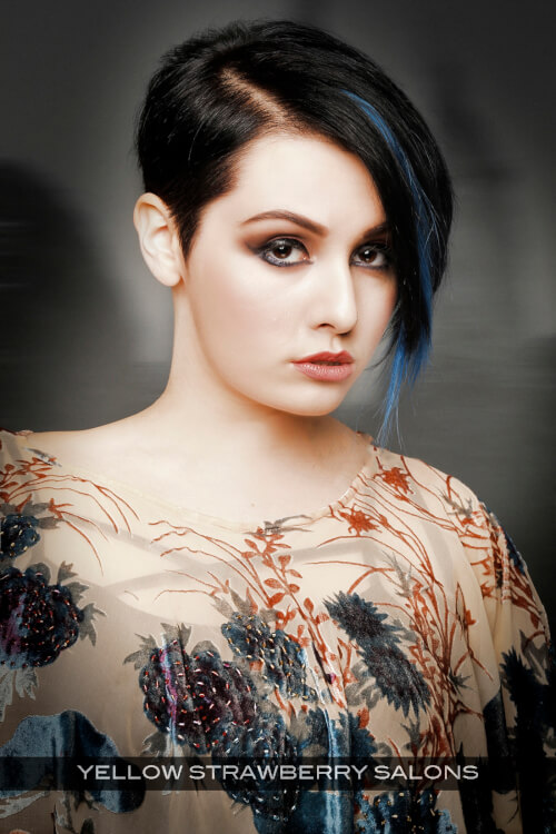 Dark Haircolor with Bright Blue Highlights