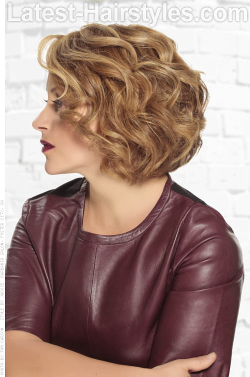 Easy Curly Bob Professional Hairstyles Side View