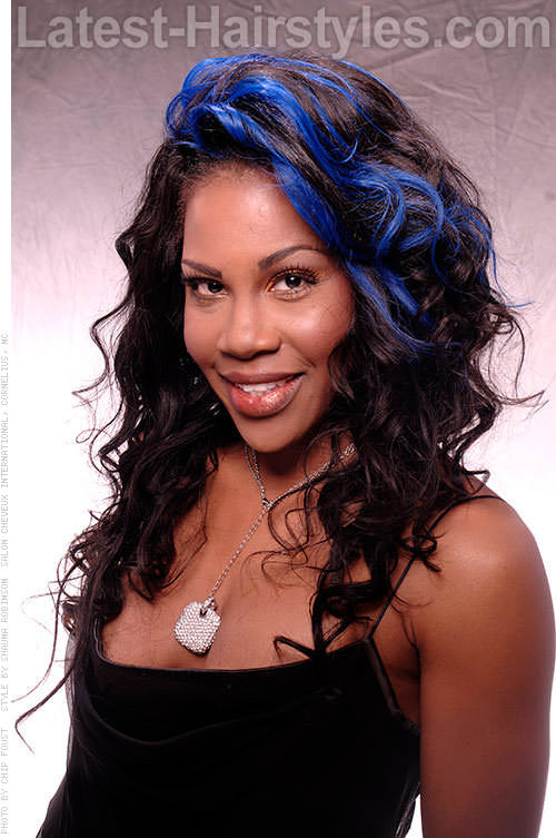 Hairstyle with Blue Clip On Extensions