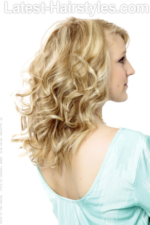 Long Blonde Hairstyle with Curls Back View