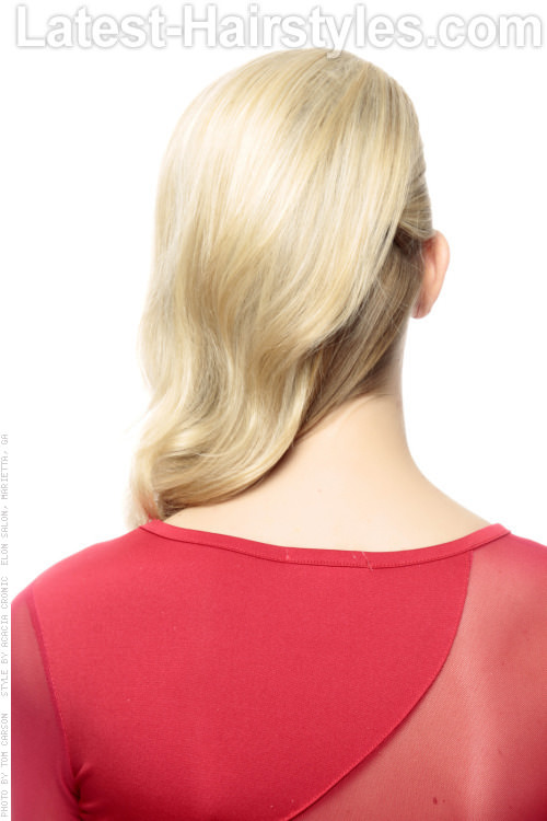 Long Blonde Side Swept Hairstyle Back View