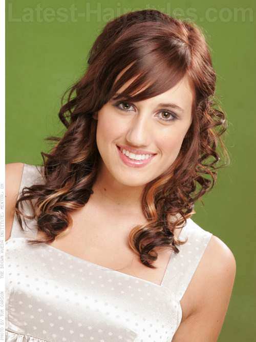 Long Curly Hairstyle with Side Swept Bangs