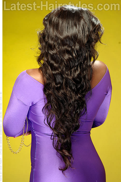 Long Natural Weave Hairstyle Back View