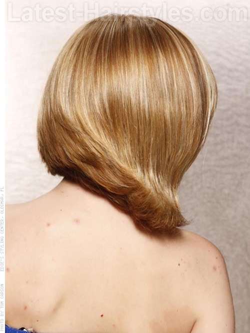 Medium Bob with Angled Side Bangs Back View